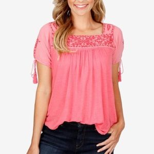Lucky Brand Pink Embroidered Short Sleeve Blouse